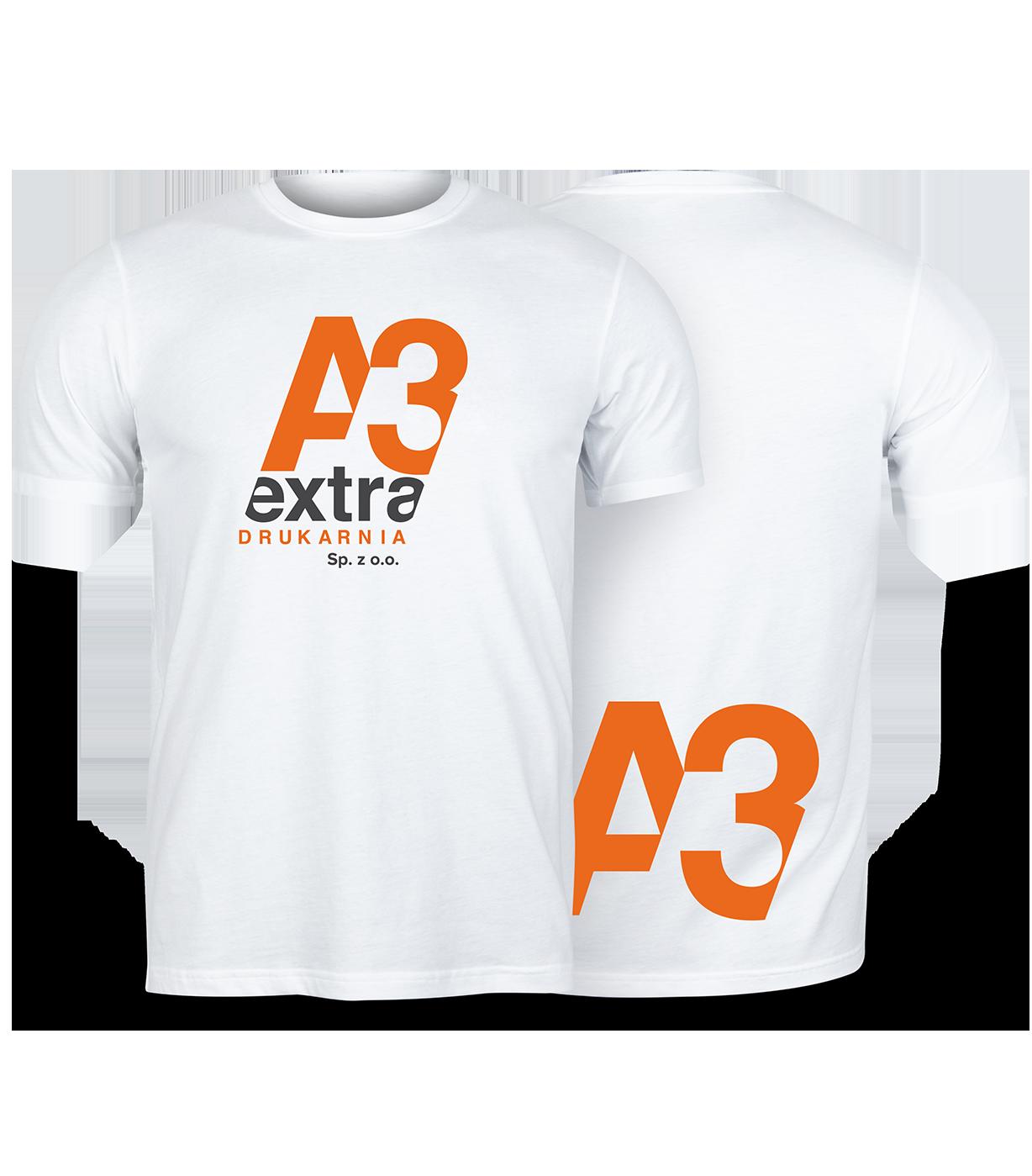 t-shirt z logo drukarni A3extra
